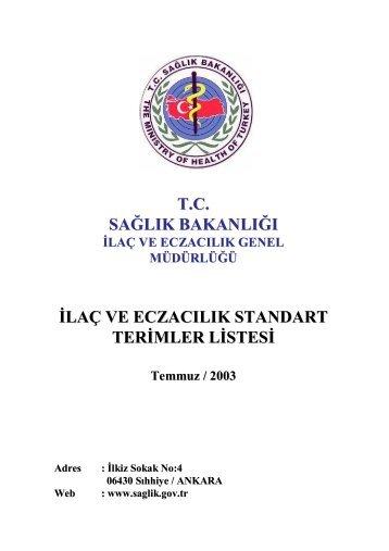 tc sağlık bakanlığı ilaç ve eczacılık standart terimler listesi - Tureng