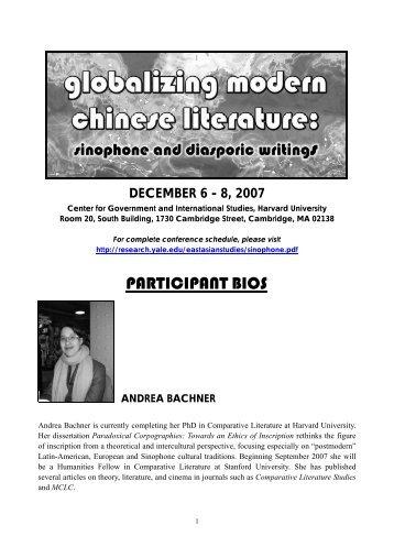 participant bios - The Council on East Asian Studies - Yale University