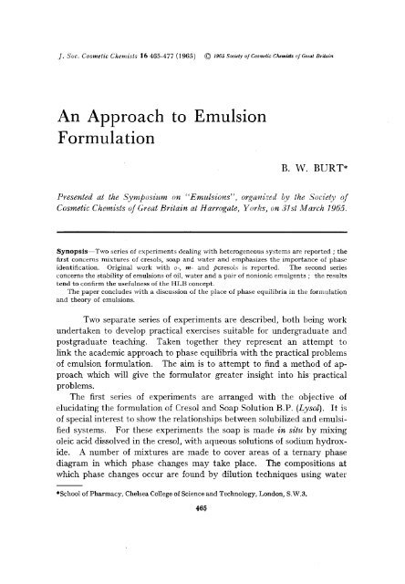 An Approach to Emulsion Formulation - Journal of Cosmetic Science