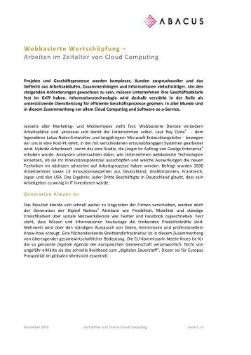 Webbasierte Wertschöpfung - ABACUS Business Solutions GmbH