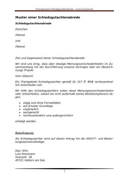 Muster Schiedsgutachtenabrede Dipl Kfm Lutz Ressmann