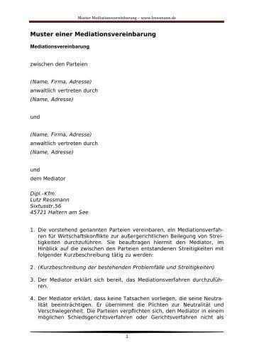 muster mediationsvereinbarung dipl kfm lutz ressmann - Ehevertrag Muster