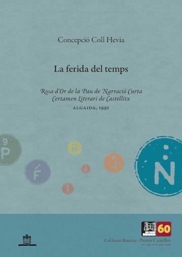 Premis Castellitx / Narrativa curta La ferida del temps Rosa d ... - Zheta
