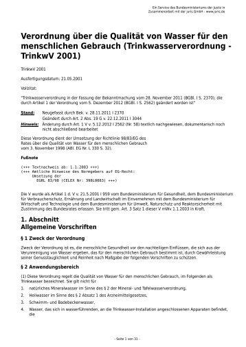 Trinkwasserverordnung - TrinkwV 2001