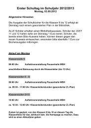 Erster Schultag im Schuljahr 2012/2013