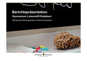 Bericht der externen Evaluation (Herbst 2009) - Gymnasium Luisenstift