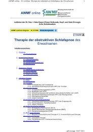 Therapie der obstruktiven Schlafapnoe des Erwachsenen AWMF ...
