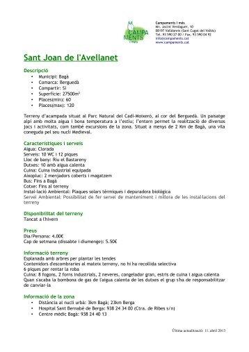 Sant Joan de l'Avellanet - Campaments i terrenys d'acampada