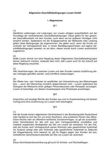 AGB (Allg. Mietbedingungen) hier als PDF herunterladen - Loxam