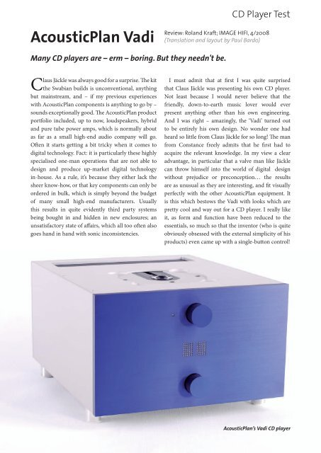 AcousticPlan Vadi CD Player Review from IMAGE HIFI Magazine, 4