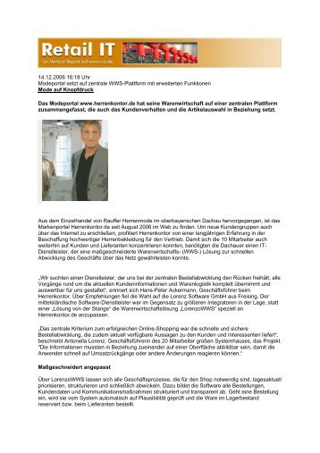 CIO online , 14.12.2006 - Lorenz Software