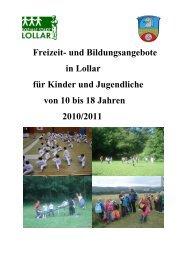 für Kinder und Jugendliche von 10 bis 18 Jahren - Stadt Lollar