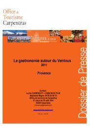 DP GASTRONOMIE 2011 - Office de Tourisme de Carpentras
