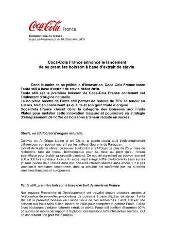 Communiqué de presse Fanta still - Coca-Cola France