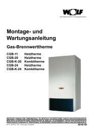 Montage- und Wartungsanleitung für Wolf CGB Brennwert-Thermen