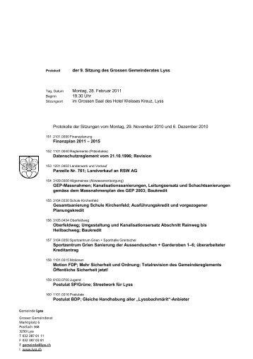 der 9. Sitzung des Grossen Gemeinderates Lyss ... - Gemeinde Lyss
