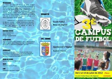 Tríptic Campus 2012 - Escola Futbol Base UD. Alginet