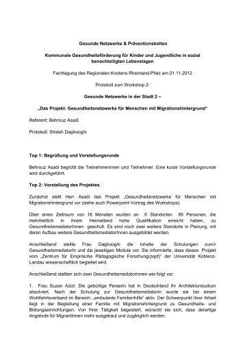 Protokoll zum Workshop - Landeszentrale für Gesundheitsförderung ...