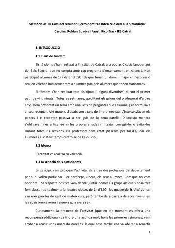 """Memòria del III Curs del Seminari Permanent """"La interacció oral a la ..."""