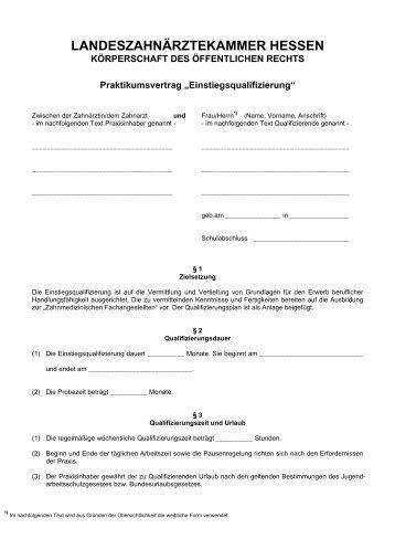 Praktikumsvertrag EQ.pdf - Landeszahnärztekammer Hessen