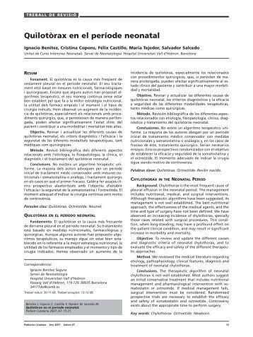 Quilotòrax en el període neonatal - Societat Catalana de Pediatria