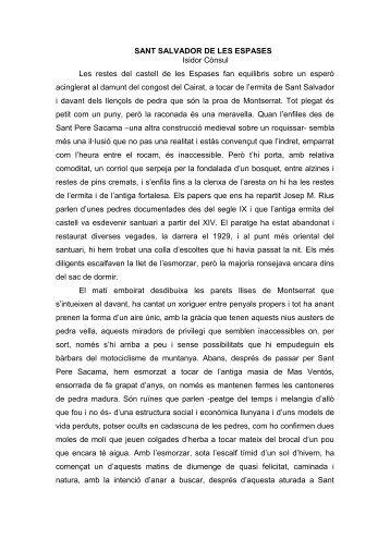 SANT SALVADOR DE LES ESPASES - Isidor Cònsul