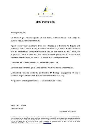 CURS D'ESTIU 2013 - Escola LAIA