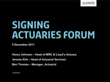 Signing actuaries forum - Lloyd's
