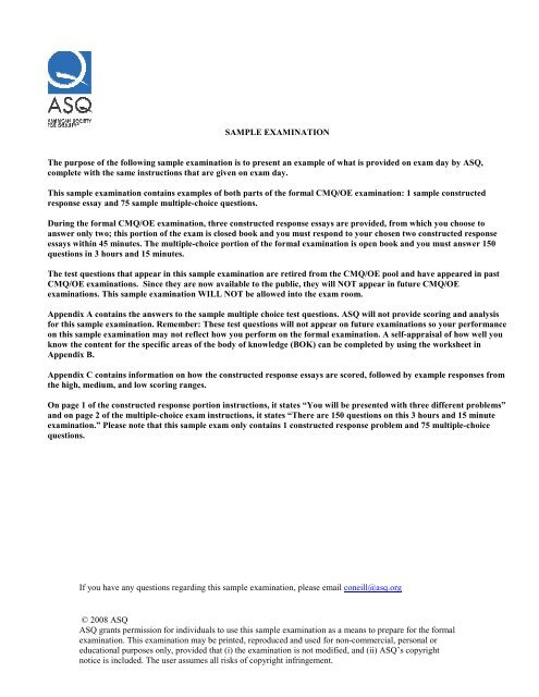 Manager Sample exam-2007 Update - Innovative Quality Products