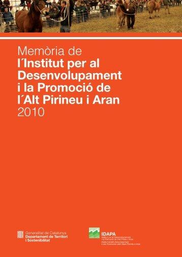 Memòria de l'IDAPA 2010 - Institut per al Desenvolupament i la ...