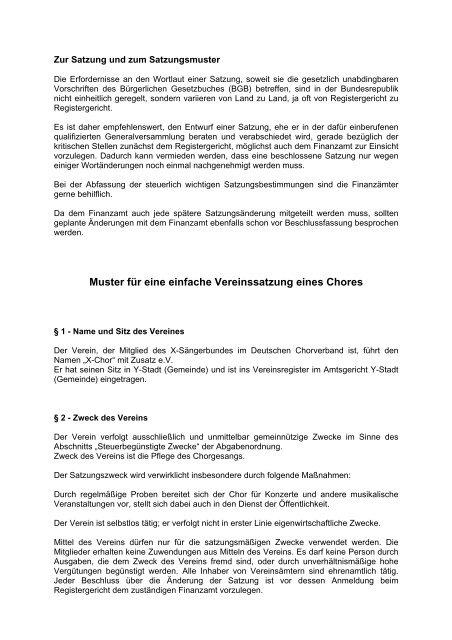 Satzung Nicht Gemeinnutziger Verein Muster Zum Download