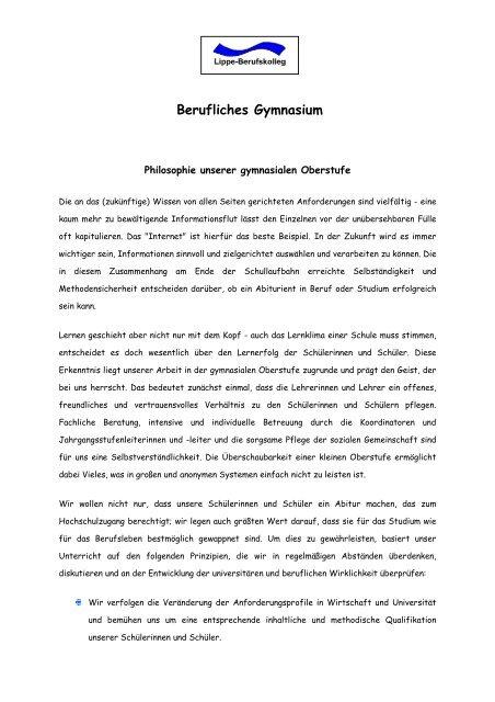 Berufliches Gymnasium - Lippe Berufskolleg
