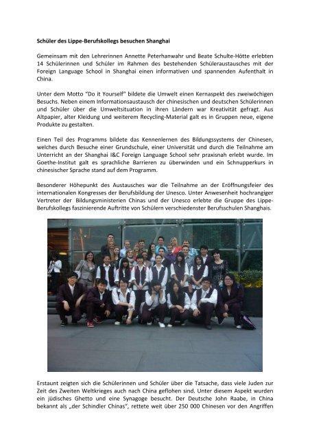 Schüler des Lippe-Berufskollegs besuchen Shanghai Gemeinsam ...