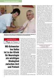 MS-Schwester Ina Selka ist in der Klinik für Neurologie ein wichtiges ...