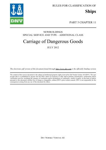 Ship rules Pt.5 Ch.11 - Carriage of Dangerous Goods - DNV Exchange