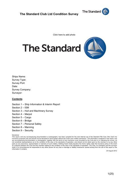 Condition Survey Form - The Standard Club