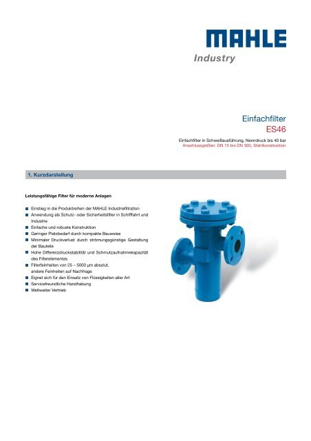 Einfachfilter ES46 - MAHLE Industry - Filtration