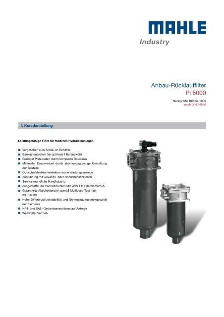 Anbau-Rücklauffilter Pi 5000 - MAHLE Industry - Filtration