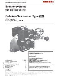 Brennersysteme für die Industrie Gebläse-Gasbrenner Type GSI stetig