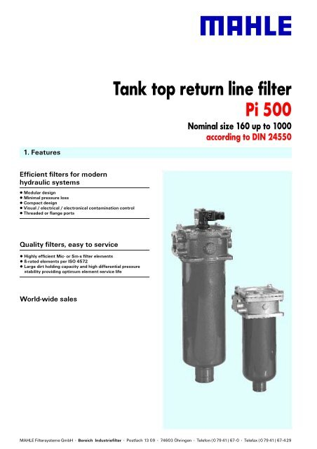 Tank top return line filter Pi 500 - Mahle com
