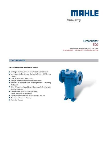 Einfachfilter EG2 - MAHLE Industry - Filtration