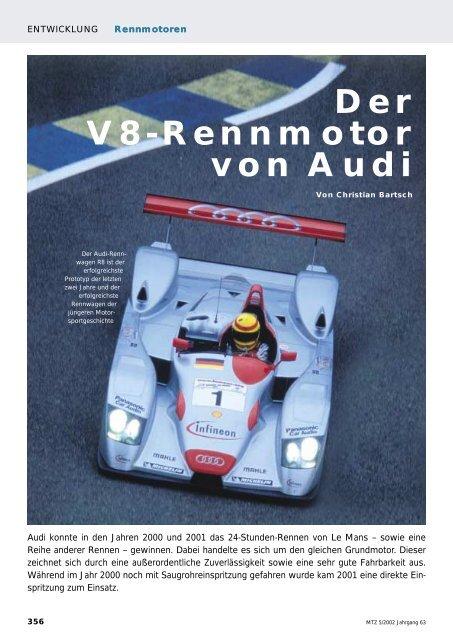 Der V8-Rennmotor von Audi - Mahle.com