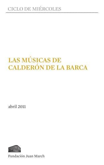 Las músicas de Calderón de la Barca - Fundación Juan March