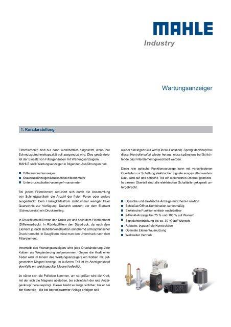 Wartungsanzeiger - MAHLE Industry - Filtration