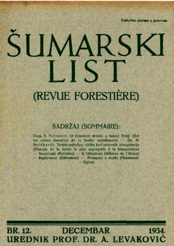 ŠUMARSKI LIST 12/1934
