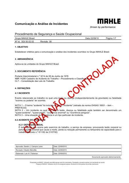 SGI 50.02.02-08 Comunicação e Análise de Incidentes - Mahle.com