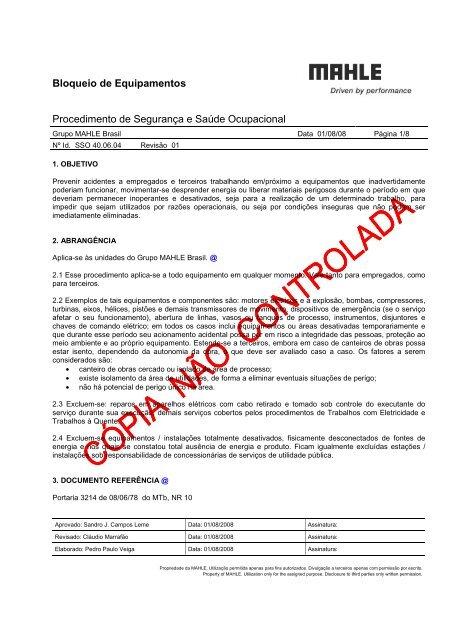 Bloqueio de Equipamentos.pdf - Mahle.com