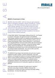 MAHLE´s Commitment in China BEIJING, November ... - Mahle.com