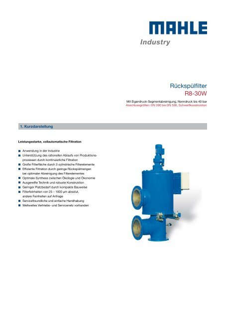 Rückspülfilter R8-30W - MAHLE Industry - Filtration