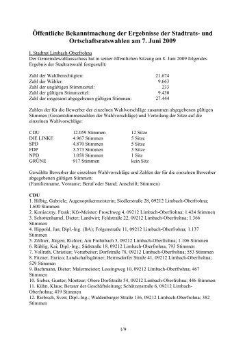 und Ortschaftsratswahlen am 7. Juni 2009 - Limbach-Oberfrohna